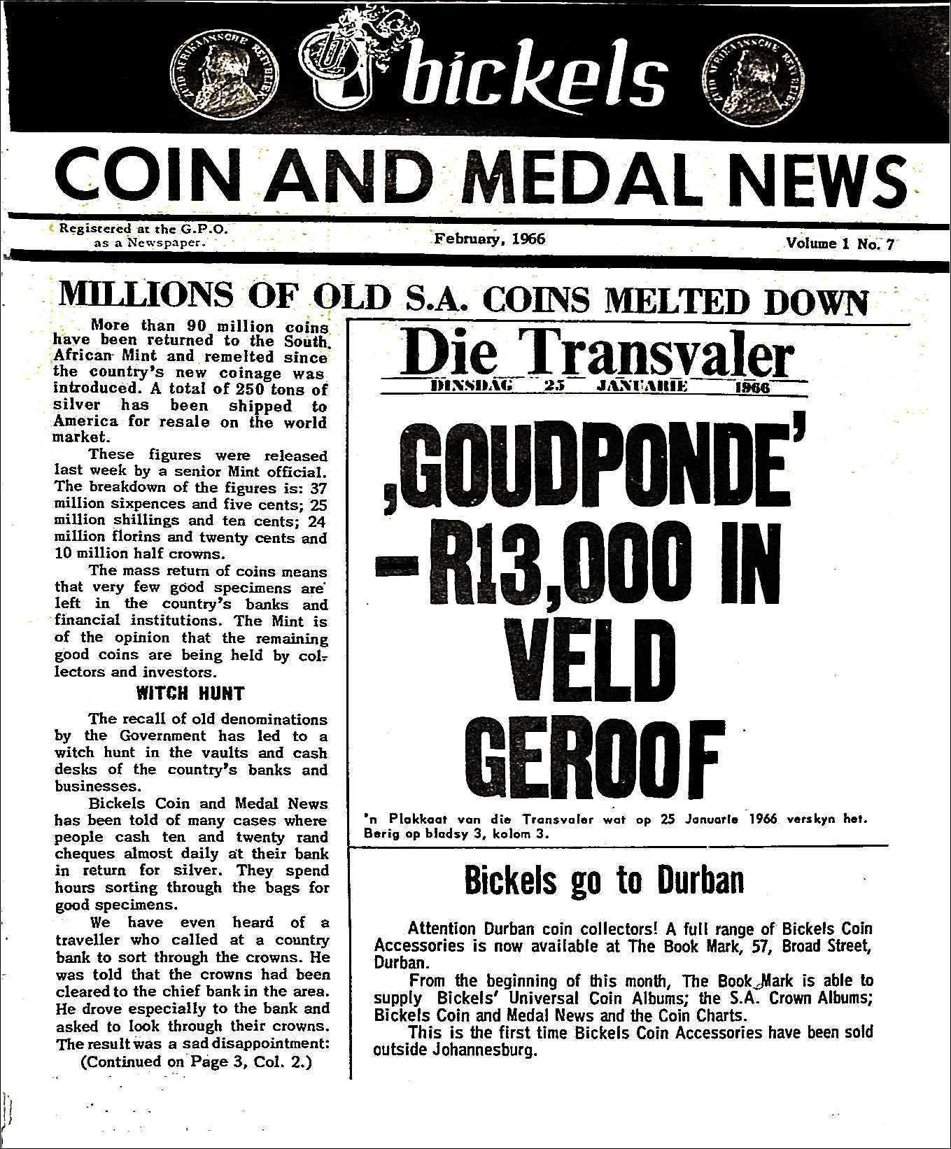 Bickels Coin & Medal News February 1966 Vol 1 No 7