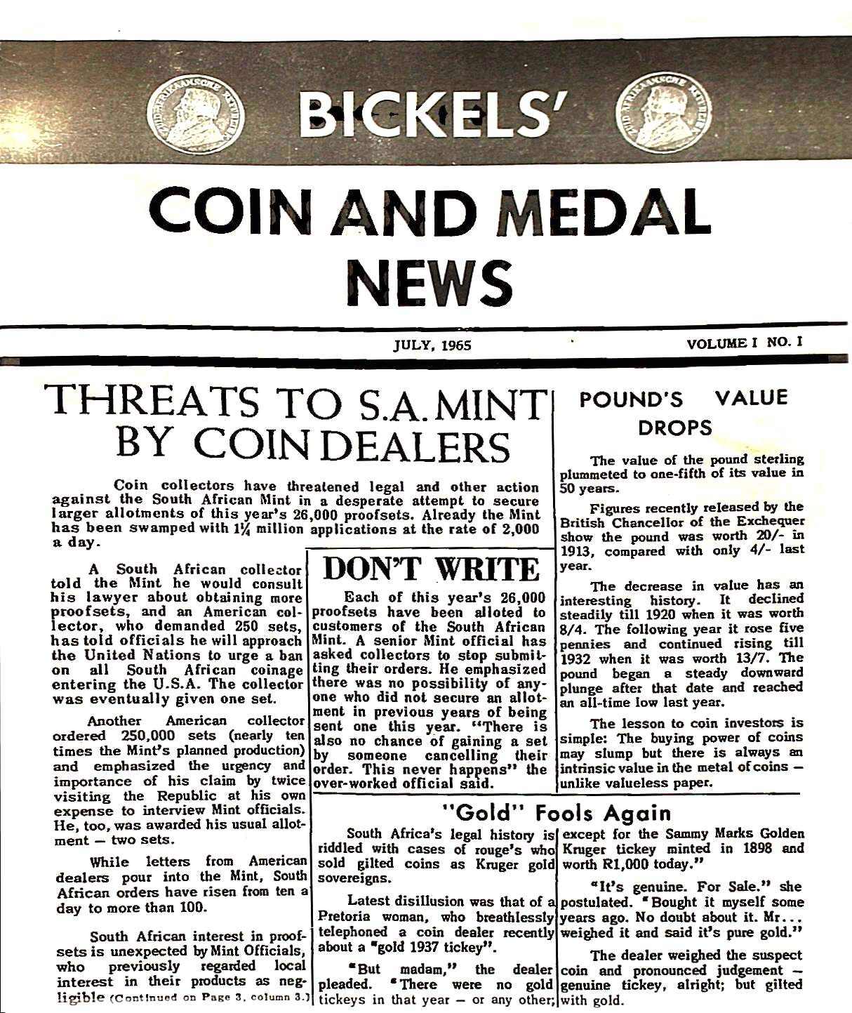 Bickels Coin &  Medal News July 1965 Vol 1 No 1