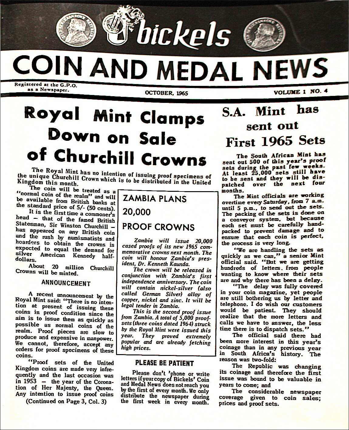 Bickels Coin & Medal News October 1965 Vol 1 No 4